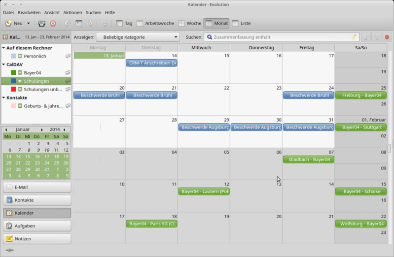 CalDav-Kalender in Evolution