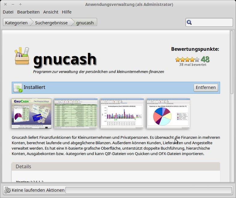 gnucash in der Aktualisierungsverwaltung